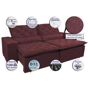 Sofá Magnum 2,82m Retrátil, Reclinável com Molas no Assento e Almofadas Lombar Tecido Suede Velusoft Vinho - Cama InBox