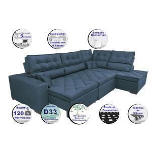 Sofa de Canto Retrátil e Reclinável com Molas Cama inBox Platinum 3,40x2,36 Tecido Suede Azul