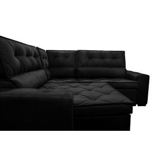 Sofá de Canto Retrátil, Reclinável, Molas Cama inBox Austin 2,50m x 2,50m Suede Velusoft Preto