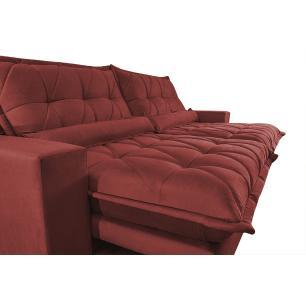 Sofá Retrátil e Reclinável 2,92m com Molas Ensacadas Cama inBox Soft Tecido Suede Vermelho