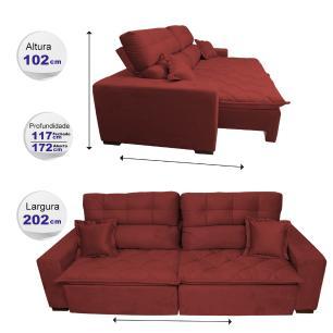 Sofá 2,02m Retrátil e Reclinável com Molas Cama inBox Confort Tecido Suede Velusoft Vermelho
