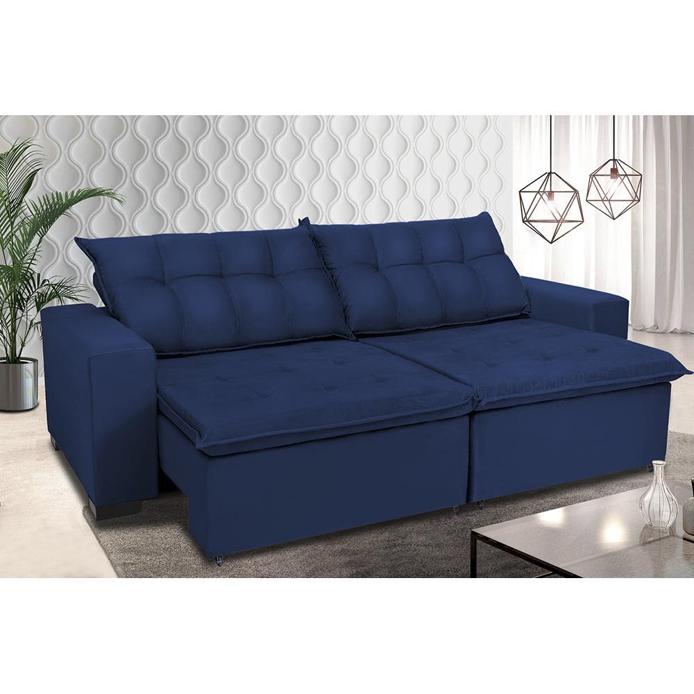 Sofá Retrátil e Reclinavel Oklahoma 2,82m Com Molas e Pillow no Assento Tecido Suede Azul - Cama InBox