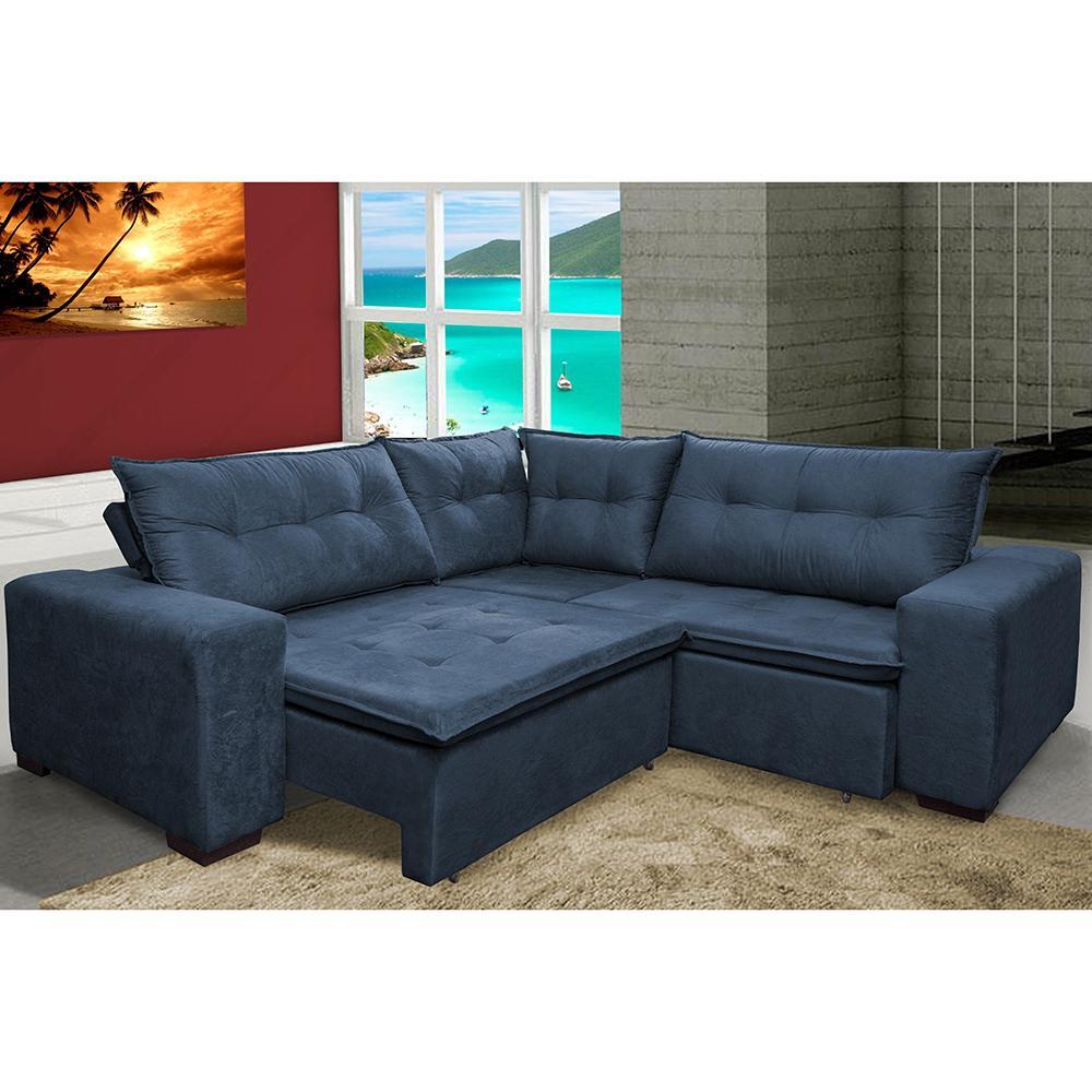 Sofa de Canto Retrátil e Reclinável com Molas Cama inBox Oklahoma 2,40m x 2,40m Suede Velusoft Azul