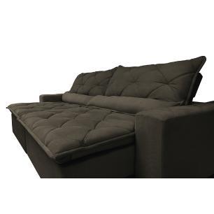 Sofá Magnum 2,42m Retrátil, Reclinável com Molas no Assento e Almofadas Lombar Tecido Suede Velusoft Café - Cama InBox