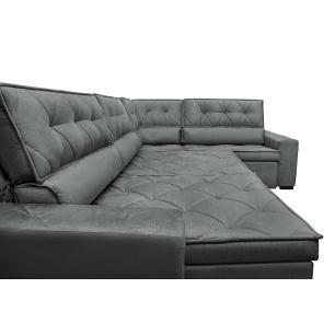 Sofa de Canto Retrátil e Reclinável com Molas Cama inBox Austin 3,45X2,44 ou 2,44X3,45 Suede Velusoft Cinza