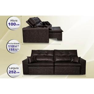 Sofá Tourino 2,52m Retrátil Reclinável, Molas e Pillow no Assento Tecido Courino Café Cama InBox