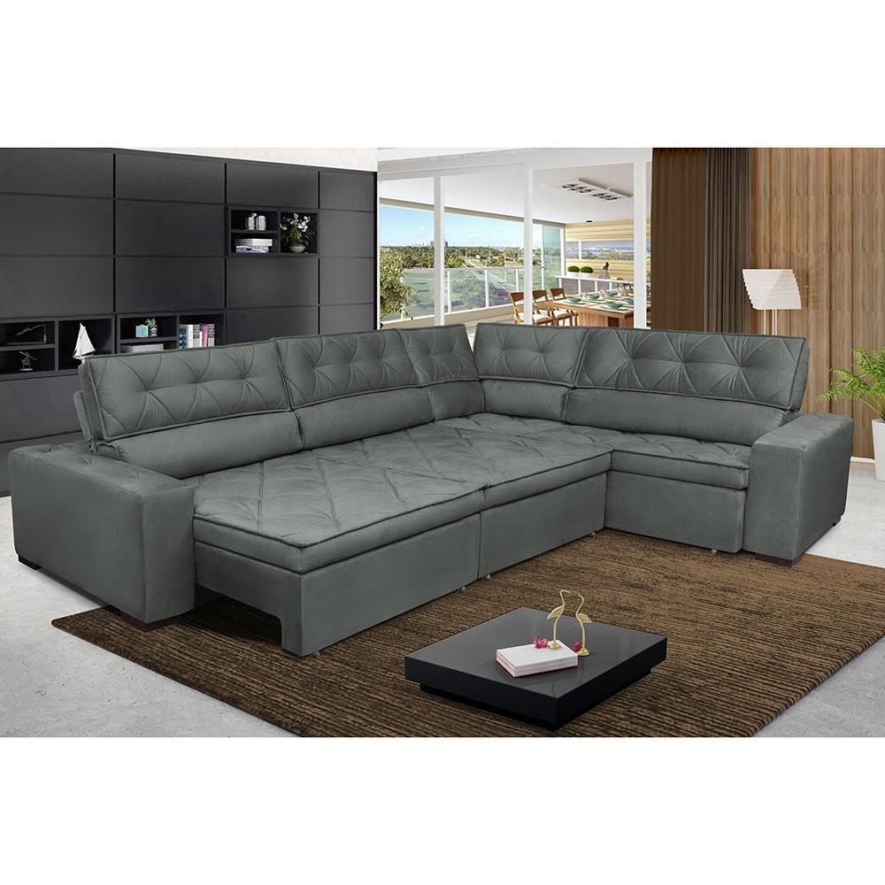 Sofa de Canto Retrátil e Reclinável com Molas Cama inBox Austin 3,65X2,54 ou 2,54X3,65 Suede Velusoft Cinza