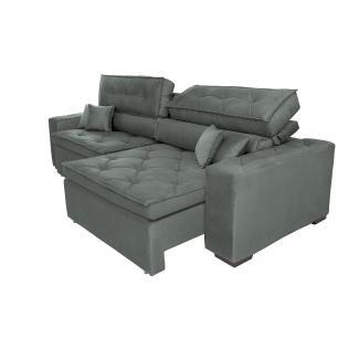 Sofá Austin 2,42m Retrátil, Reclinável com Molas no Assento e Almofadas, Tecido Suede Grafite