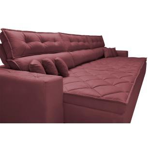 Sofá Retrátil e Reclinável 3,52m Austin com Molas no Assento Tecido Suede Velusoft Vinho