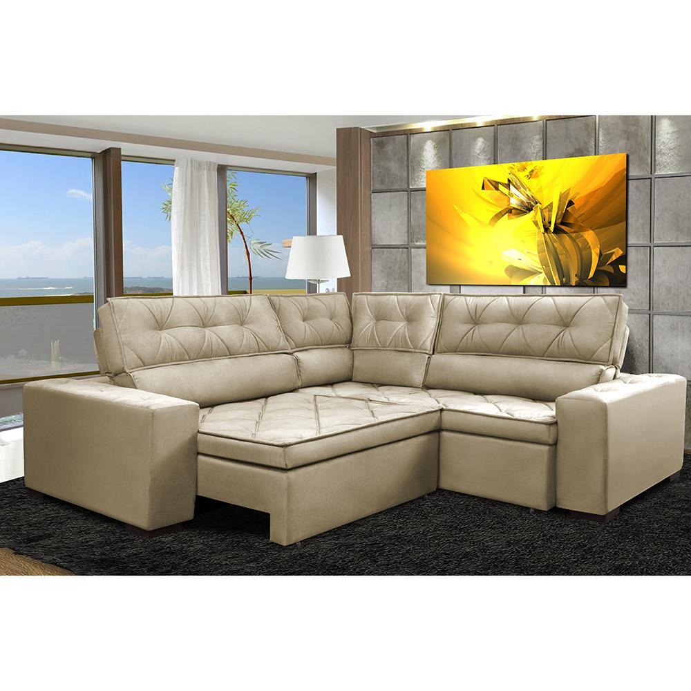 Sofa de Canto Retrátil e Reclinável com Molas Cama inBox Austin 2,40m x 2,40m Suede Velusoft Bege