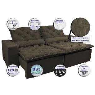Sofá Magnum 2,82m Retrátil, Reclinável com Molas no Assento e Almofadas Lombar Tecido Suede Velusoft Café - Cama InBox