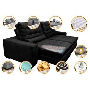 Sofá Retrátil e Reclinável com Molas Ensacadas Cama inBox Gold 2,52m Tecido Suede Velusoft Preto