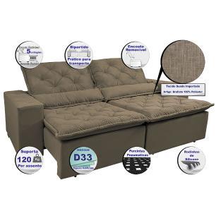 Sofá Magnum 2,02m Retrátil, Reclinável com Molas no Assento e Almofadas Lombar Tecido Suede Velusoft Castor - Cama InBox
