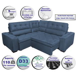 Sofa de Canto Retrátil e Reclinável com Molas Cama inBox Austin 2,70m x 2,70m Suede Velusoft Azul
