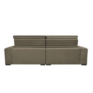 Sofá Magnum 2,22m Retrátil, Reclinável com Molas no Assento e Almofadas Lombar Tecido Suede Velusoft Castor - Cama InBox