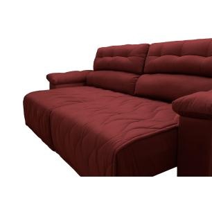 Sofá 2,22m Retrátil e Reclinável com Molas Cama inBox Top Tecido Suede Velusoft Vermelho