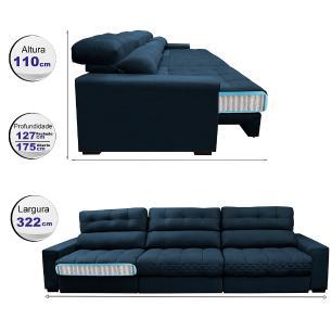 Sofá Retrátil e Reclinável com Molas Ensacadas Cama inBox Master 3,22m Tecido Suede Azul