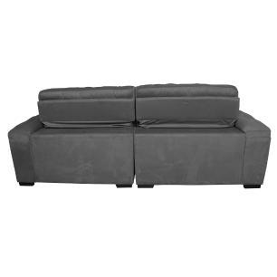 Sofá 2,12m Retrátil e Reclinável com Molas Cama inBox Top Tecido Suede Velusoft Cinza