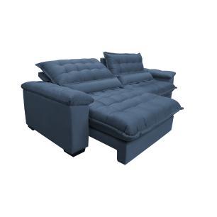 Sofá Retrátil e Reclinável 2,92m com Molas Ensacadas Cama inBox Aconchego Tecido Suede Azul