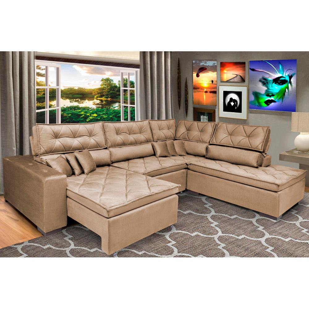 Sofa de Canto Retrátil e Reclinável com Molas Cama inBox Platinum 3,40x2,36 Tecido Suede Castor