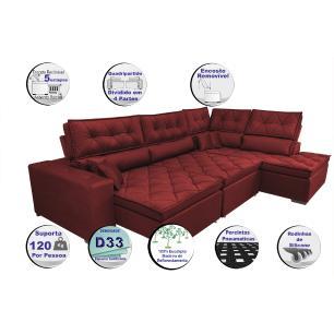 Sofá de Canto Retrátil e Reclinável com Molas Cama inBox Platinum 3,40x2,36 Tecido Suede Vermelho