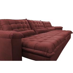 Sofá Retrátil e Reclinável 3,22m com Molas Ensacadas Cama inBox Aconchego Tecido Suede Vermelho