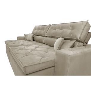 Sofá Austin 2,42m Retrátil, Reclinável com Molas no Assento e Almofadas, Tecido Suede Bege