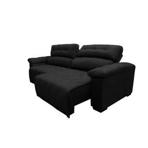 Sofá 2,32m Retrátil e Reclinável com Molas Cama inBox Top Tecido Suede Velusoft Preto