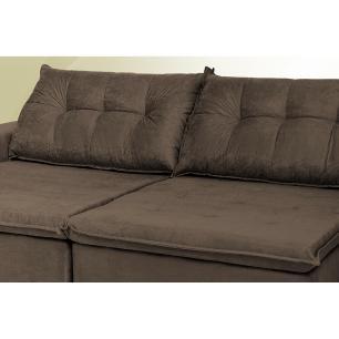 Sofá Austrália 2,52 Mts Retrátil, Reclinável Com Molas e Pillow no Assento Tecido Suede Café - Cama InBox