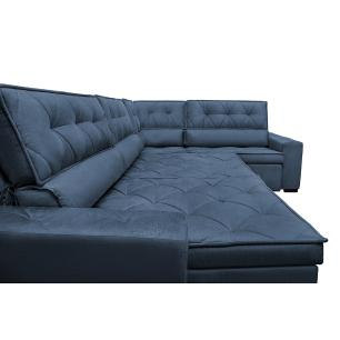 Sofa de Canto Retrátil e Reclinável com Molas Cama inBox Austin 3,85X2,64 ou 2,64X3,85 Suede Velusoft Azul