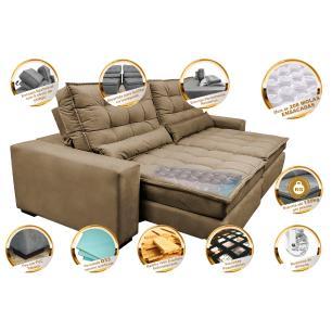 Sofá Retrátil e Reclinável com Molas Ensacadas Cama inBox Gold 2,32m Tecido Suede Velusoft Castor