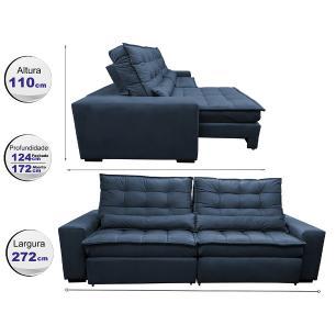 Sofá Retrátil e Reclinável com Molas Ensacadas Cama inBox Gold 2,72m Tecido Suede Velusoft Azul