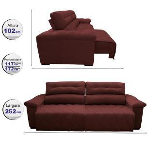 Sofá 2,52m Retrátil e Reclinável com Molas Cama inBox Top Tecido Suede Velusoft Vermelho