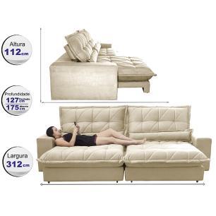 Sofa Retrátil e Reclinável 3,12m com Molas Ensacadas Cama inBox Soft Tecido Suede Bege