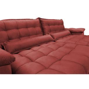 Sofá Retrátil e Reclinável 3,12m com Molas Ensacadas Cama inBox Aconchego Tecido Suede Vermelho