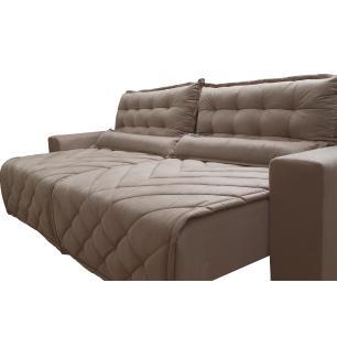 Sofá 2,12m Retrátil e Reclinável com Molas Cama inBox Plus Tecido Suede Velusoft Bege