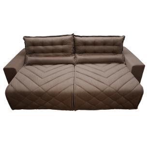 Sofá 2,22m Retrátil e Reclinável com Molas Cama inBox Plus Tecido Suede Velusoft Castor