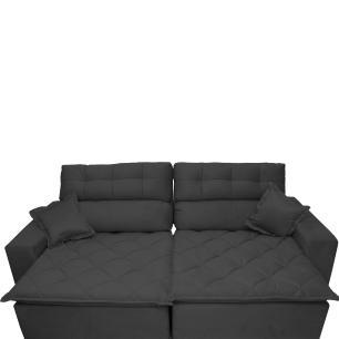 Sofá 2,12m Retrátil e Reclinável com Molas Cama inBox Confort Tecido Suede Velusoft Preto