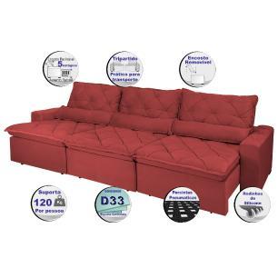 Sofá Lisboa 3,82m Retrátil, Reclinável, Molas no Assento e Almofadas Lombar Tecido Suede Vermelho