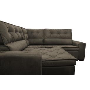Sofa de Canto Retrátil e Reclinável com Molas Cama inBox Austin 2,40m x 2,40m Suede Velusoft Café