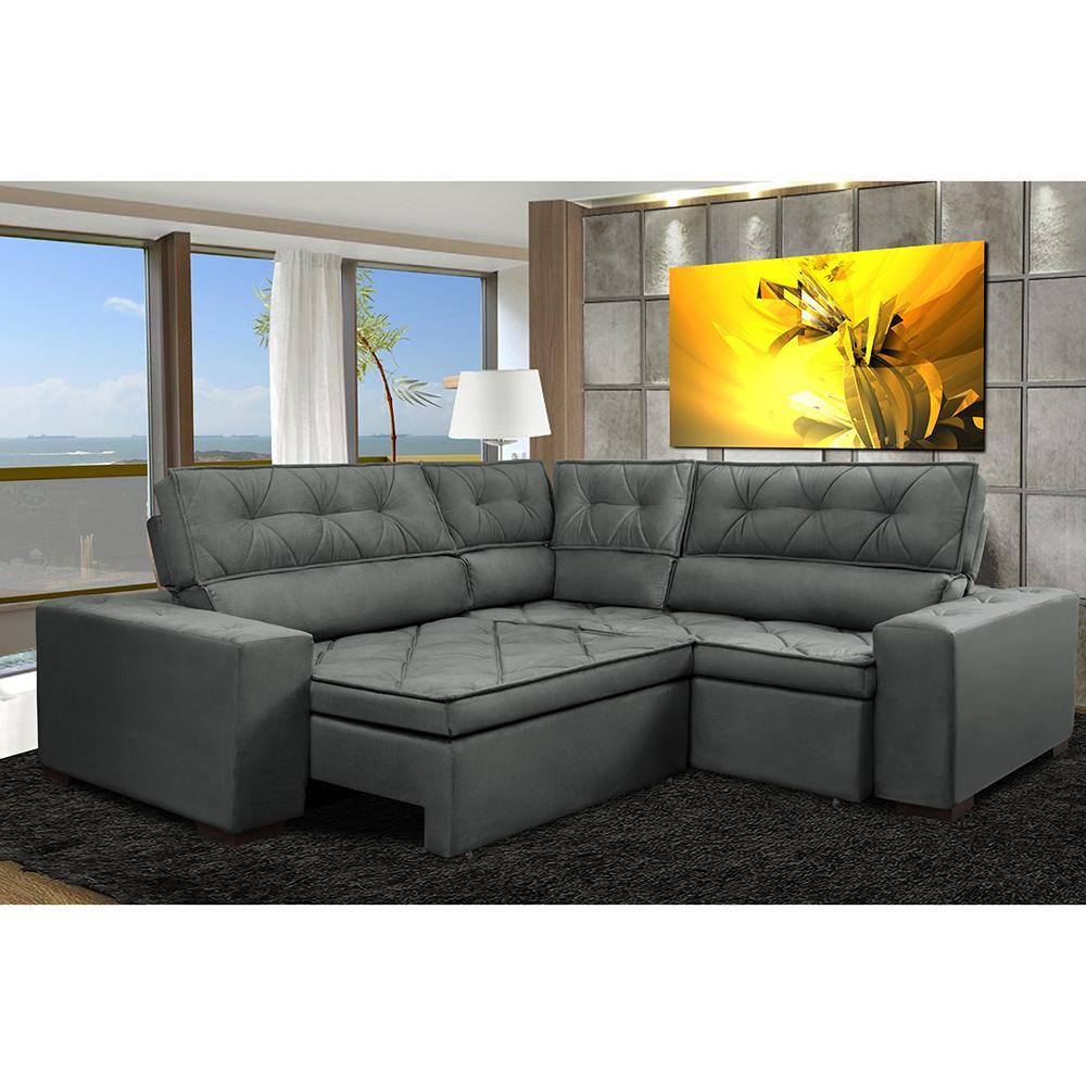 Sofa de Canto Retrátil e Reclinável com Molas Cama inBox Austin 2,40m x 2,40m Suede Velusoft Cinza