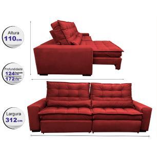 Sofá Retrátil e Reclinável com Molas Ensacadas Cama inBox Gold 3,12m Tecido Suede Velusoft Vermelho