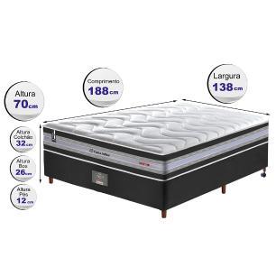 Conjunto Cama Box Casal de Molas Ensacadas D33 Cama inBox Select Firme 138x188x71 Preto