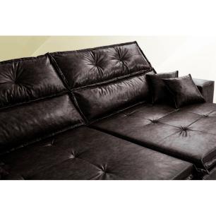 Sofá Tourino 2,32m Retrátil Reclinável, Molas e Pillow no Assento Tecido Courino Café Cama InBox