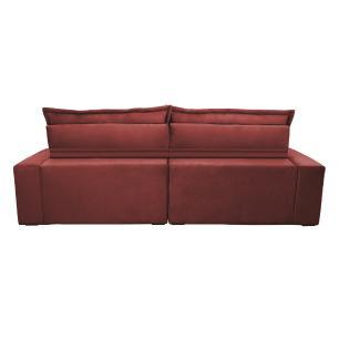 Sofá Retrátil e Reclinável 2,52m com Molas Ensacadas Cama inBox Soft Tecido Suede Vermelho