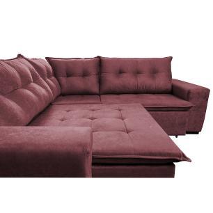Sofa de Canto Retrátil e Reclinável com Molas Cama inBox Oklahoma 2,50m x 2,50m Suede Velusoft Vinho