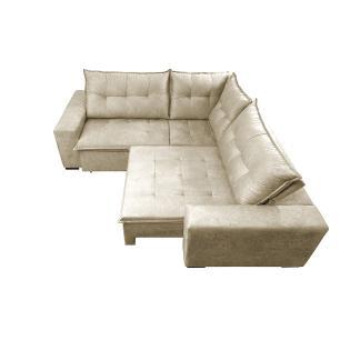 Sofa de Canto Retrátil e Reclinável com Molas Cama inBox Oklahoma 2,30m x 2,30m Suede Velusoft Bege