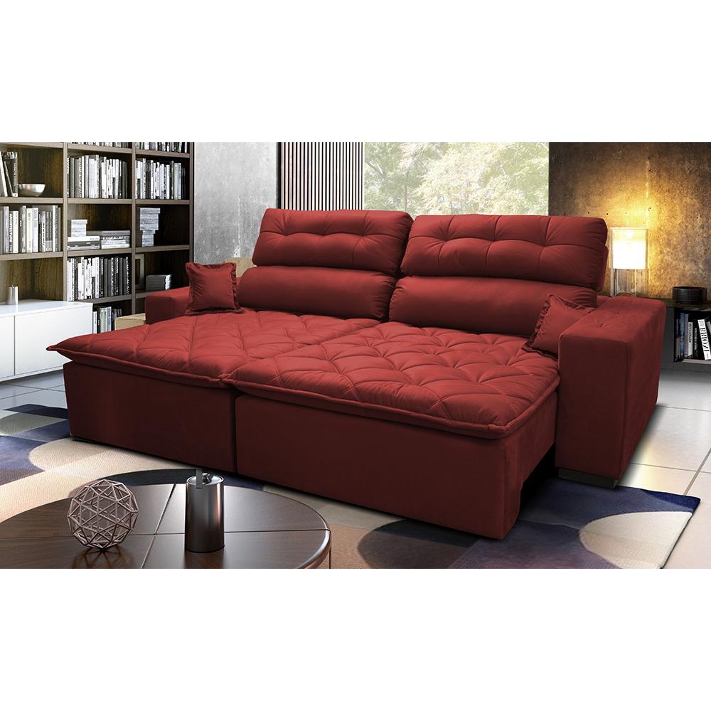 Sofá 2,42m Retrátil e Reclinável com Molas Cama inBox Confort Tecido Suede Velusoft Vermelho