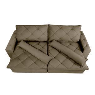 Sofá Magnum 2,62m Retrátil, Reclinável com Molas no Assento e Almofadas Lombar Tecido Suede Velusoft Castor - Cama InBox