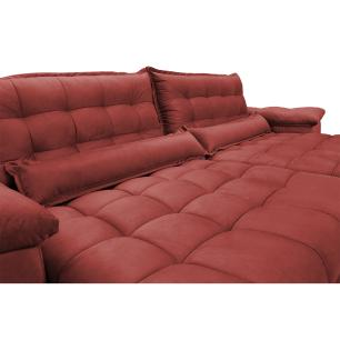 Sofá Retrátil e Reclinável 2,52m com Molas Ensacadas Cama inBox Aconchego Tecido Suede Vermelho